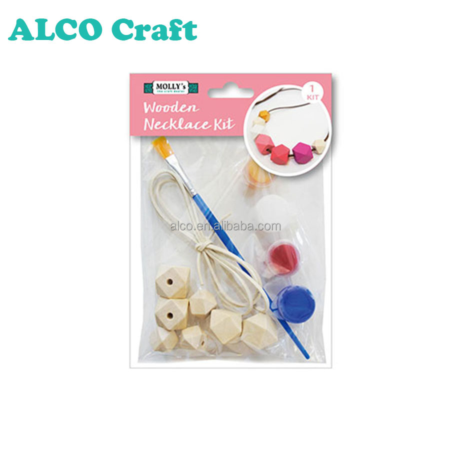 Multi hexagon size wooden bead necklace for kids craft kits