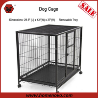 "High Quality 28.5""L x 43""W x 37""H Welded Mesh Wheels Large Heavy Duty Decorate Dog Crate"