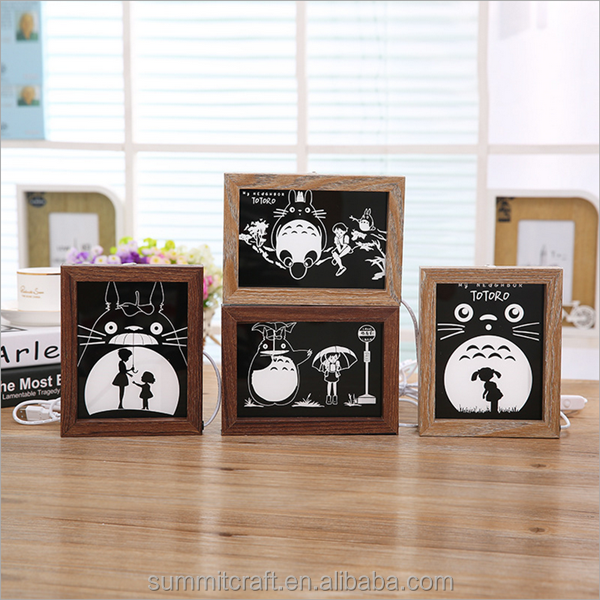 Wooden lovely cat picture photo-frame with led light inside home etc wooden photo frame
