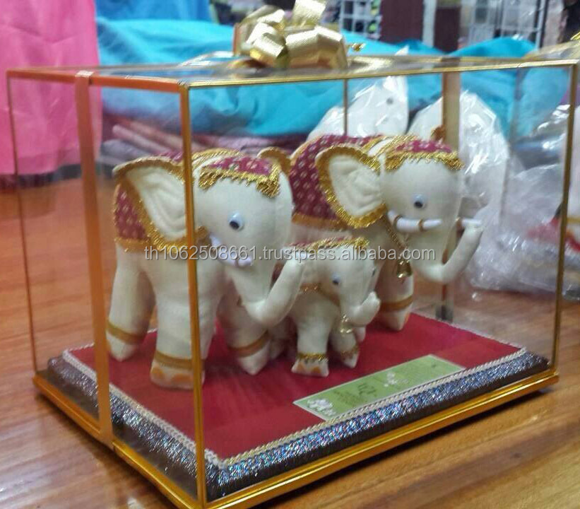 Lot of 3 Thai Royal Elephant from White Silk with Gold Accessory for Decoration,Collection