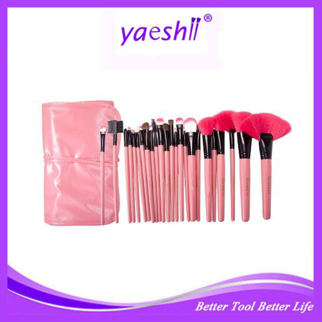 YAESHII 24Pcs Makeup Brush Set, Professional Essential Cosmetic Make Up Brushes Kit with pink Leather Bag