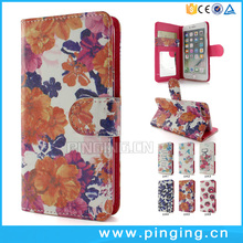 Color Flowers printing wallet stand leather flip case for Vivo V5s
