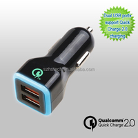 5V 2.4a/ 9v 2a/ 12v 1.5a Super Fast Charging Qualcomm quick charge 2.0 car charger for Samsung S6 S7 Edge