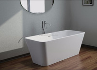 Pure white Freestanding Acrylic Solid Surface Bathtub