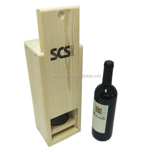 Unfinished cheap wooden wine box wine bottle gift box with slide lid