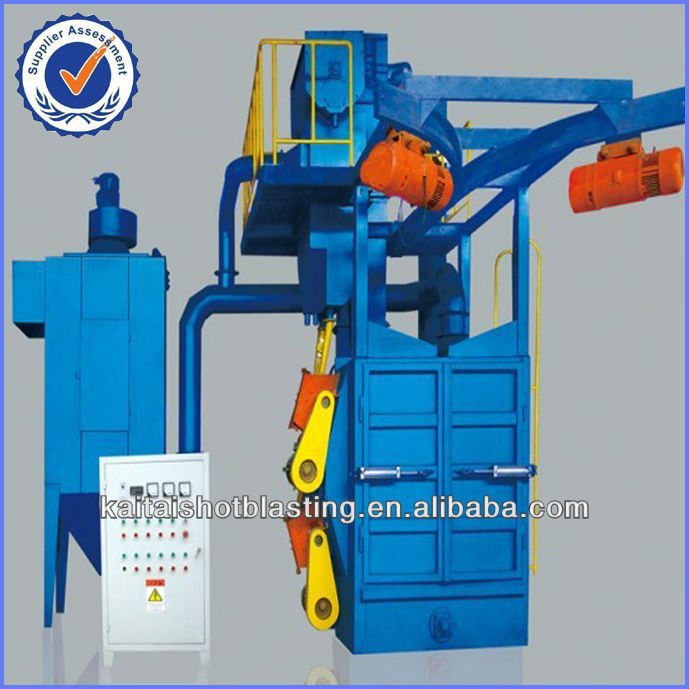 Hook abrasive blasting machine for cast iron