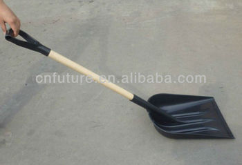 wooden handle with reinforced plastic snow shovel