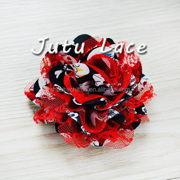 Black/Red Skull chiffon lace flower supplies, fabric flower wholesale, chiffon hair flower-Halloween flower - Wholesale - DIY