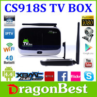 In stock ! 16GB/2GB HD 5MP Camera Mini PC Android TV Box Bluetooth LAN AV CS918S Android tv box Quad-Core