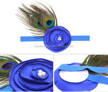 Fancy baby feather headband,Children's peacock feathers pearl flower hair band