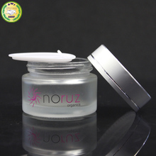 straight side frosted glass jar for cosmetic cream packing with metal lids