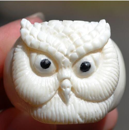 Size 10 Owl Carved in Natural Buffalo Bone Carving Ring 60064769