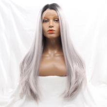 Wholesale beauty grey synthetic lace front wigs free parting lace front wigs glueless best quality