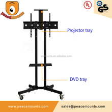 TUV Certificate ! LCD LED Movable Durable TV Trolley Stand With Four Wheels
