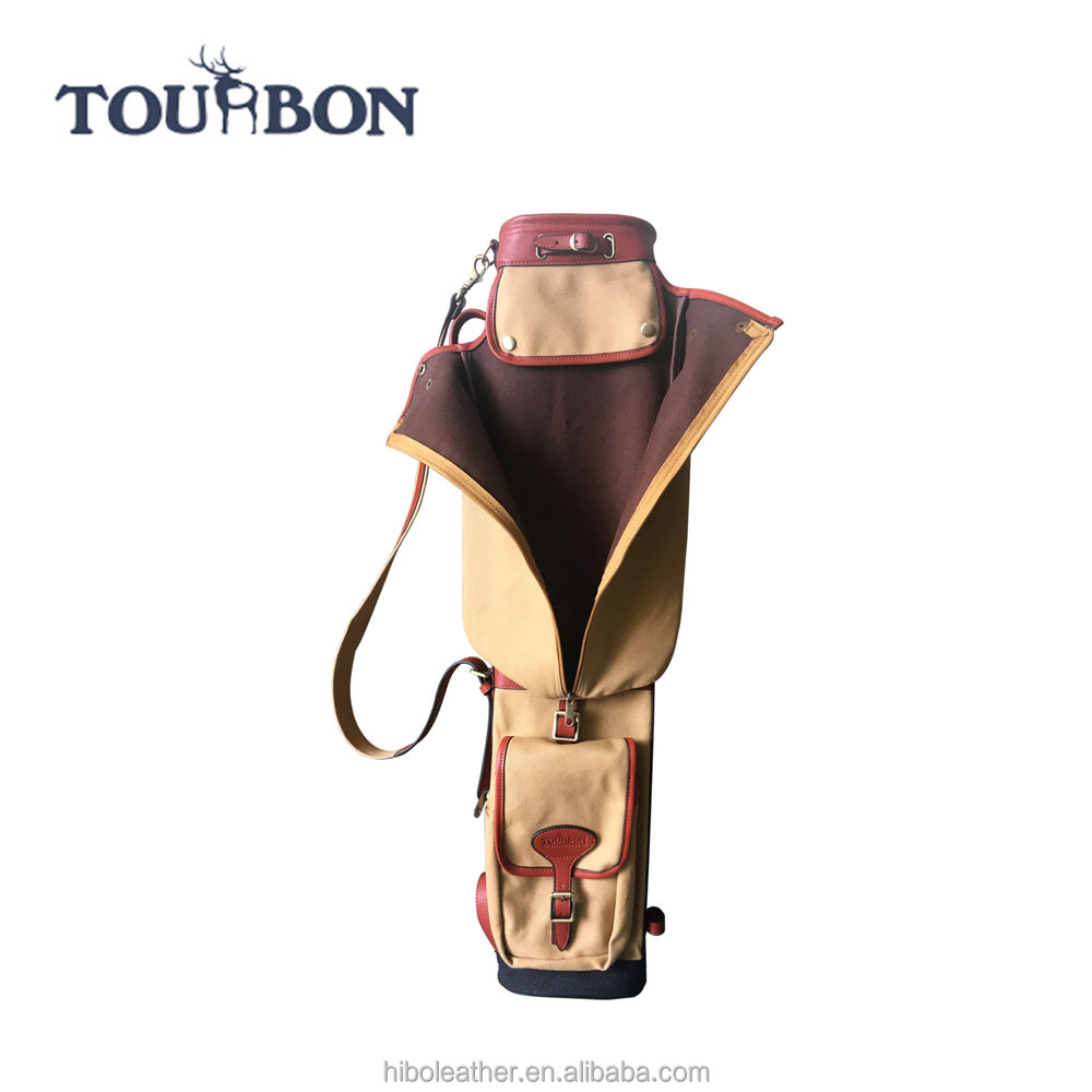 Tourbon Pencil Style Golf Club Carrier Canvas & Leather Vintage Golf Gun Bag with Pockets Side Clubs Cover