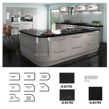 GREY HIGH GLOSS LACQUERED KITCHEN CABINET WITH COUNTERTOP
