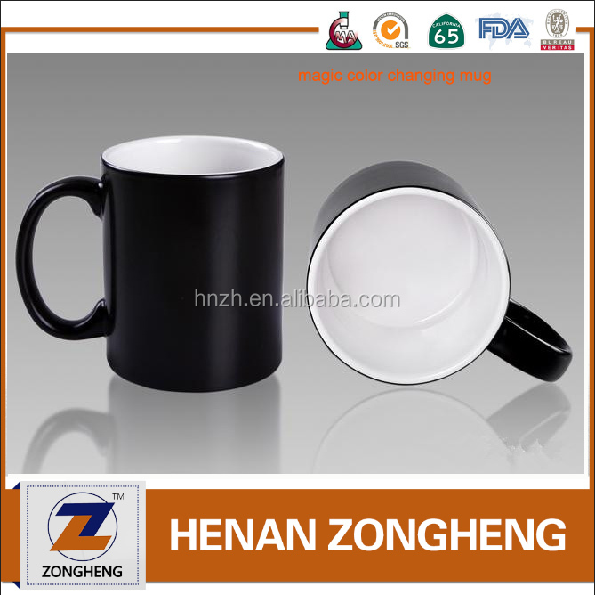 Custom Ceramic hot heat sensitive color changing magic mugs