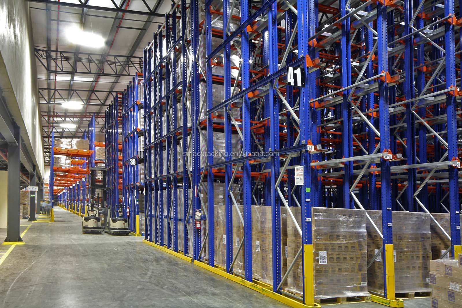 Automated Storage And Retrieval System , 45m Industrial Warehouse Shelving Racks