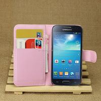 Factory Price Lichee Leather Pouch Wallet Case Folio Stand Cover for Samsung GALAXY S4 mini i9190