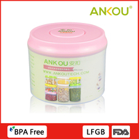 One Touch Button Eco-friendly PP Material Container , 600ml Round Food Storage Containers With Lids