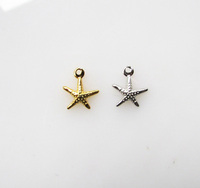2016 new arrived pave zirconia sterling silver 925 seastar charm for earring