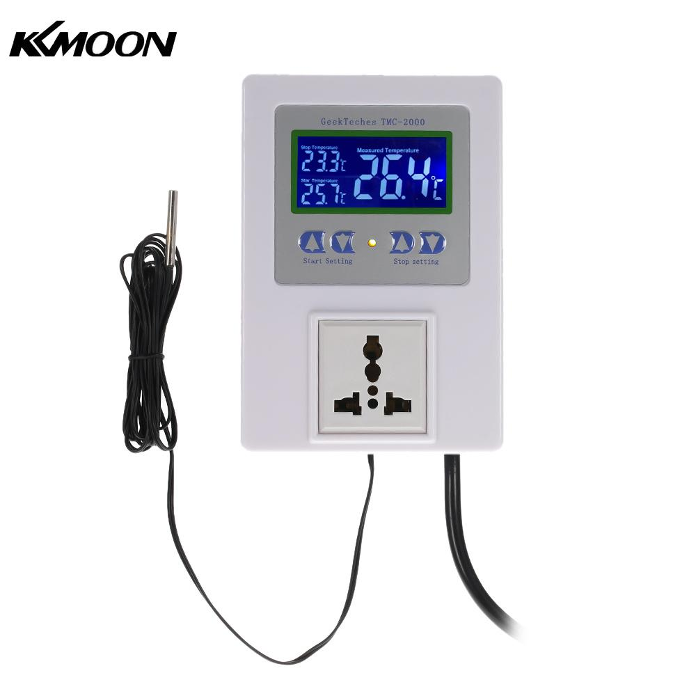 Digital Intelligent Pre-wired Temperature Controller Outlet with Sensor Thermostat Heating Cooling Control AC110-240V 10A LCD