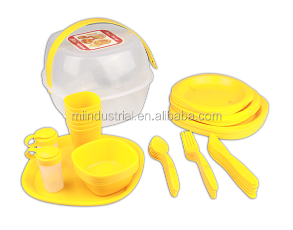 52pc Reusable Plastic Picnic Tableware Set for 6 People