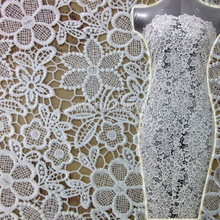 custom new style milk poly white african lace fabrics for dress wedding