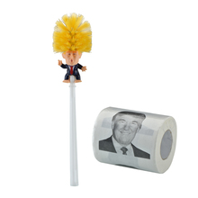 Wholesale Cheap Easy Clean WC Donald Trump Paper Toilet Bowl <strong>Brush</strong> Trump Toilet <strong>Brush</strong> With Paper Set For Gag Gift