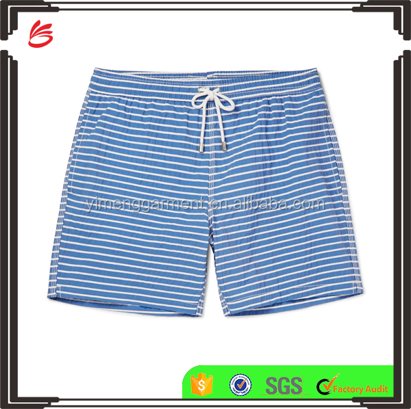 Mid-Length Blue and White Striped Cotton-Blend Mens Swim Shorts
