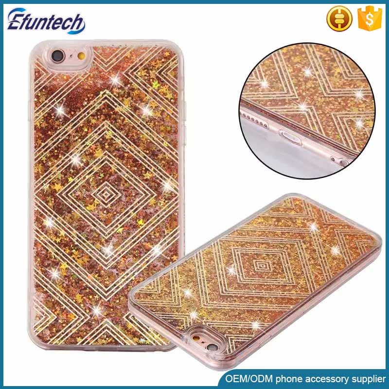 OEM mobile phone accessory glitter luxury liquid sand cell phone case for samsung s6 cover