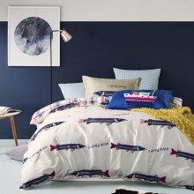 Light Colour Fish And Boat Pattern Bed Set With Check Bedsheet Cotton Bedding Set