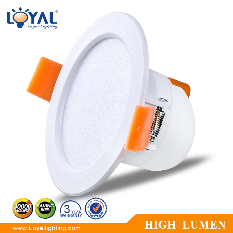 High lumen IP20 plastic cover 2700-6500k led smd 6w downlight