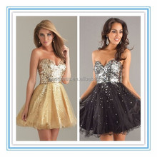 2015 New Arrival A-line Sweetheart Shine Sequins Cocktail Party Dress Short Black Tulle Sexy Cocktail Dress(CTD01)