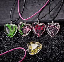 New style fashion dired flower glass puffy heart pendant