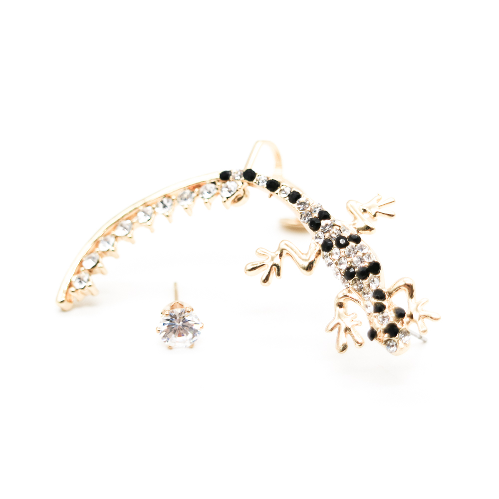cool girl stuff earrings black and gold gecko animal ear cuff diamond sticky earring