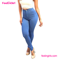 High Waist Push Up Blue New Design Import Cheap Jeans Wholesale China