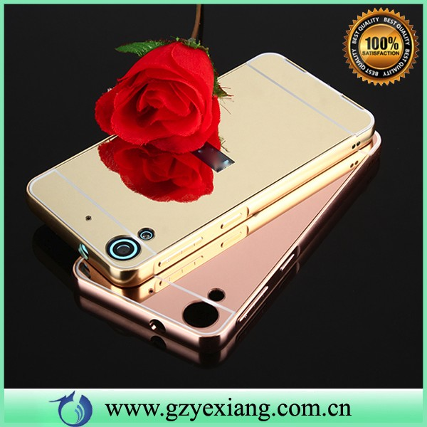 luxury metal bumper case for htc desire 628 back cover mirror case