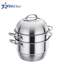 Multi-layer stainless steel dim sum steamer pot with customized logo
