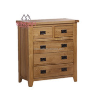 306 rustic style natural oak 2 over 3 drawer chest