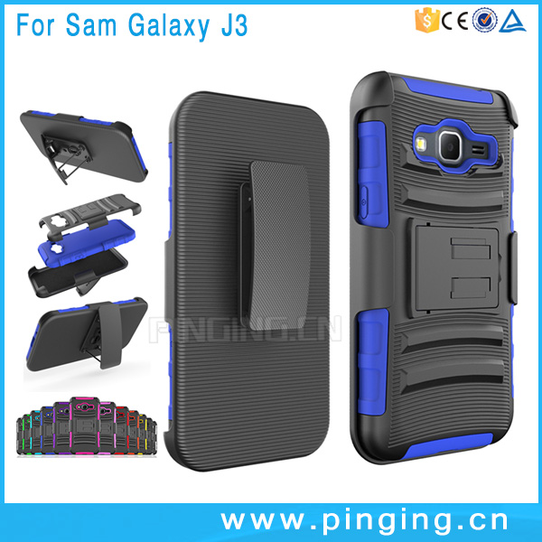3 in 1 shockproof mobile phone kickstand slip cover case for Samsung galaxy J3 , belt clip case for Samsung galaxy J3