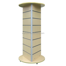 Glass and slatwall Cloth display showroom four sides MDF slatwall merchandise display with wheels and rotatable