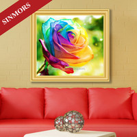 China Factory colorful large handmade rose pattern embellishment art diy crystal 5d embroidery diamond painting wall decoration