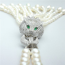 Latest design pearl necklace long pearl necklace design with CZ stone