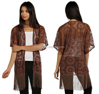 KNIT FRINGE HEM SHORT SLEEVE CARDIGAN brown lace manufacture