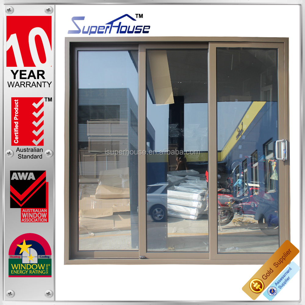 10 years warranty China supplier superhouse double glass 3-track sliding door interior door