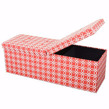 Indoor Home & Office Furniture Fashion Foldable Linen Fabric Storage Ottoman Bench