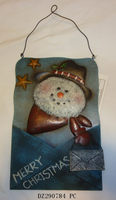 Christmas Decorative Hanging Metal Wall Plaque With Santa Claus Embossed