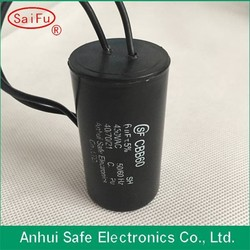 Wholesale high quality cbb61 run capacitor with able wire type use for ceiling fan