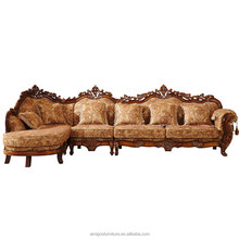 luxurious Teak wooden arab Sectionnal wooden sofa set design